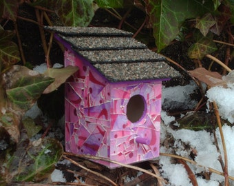Hummingbird Paradise Shattered Mosaic Glass Birdhouse