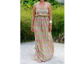 Chevron prints sundress, womens maxi dress, everyday wear, beach outfit