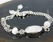 Moonstone bracelet, Sterling Silver bracelet, milky gemstone fine bracelet with iridescent blue flashes, June birthstone,gift for her,BR2194