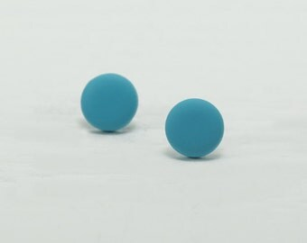 Turquoise Stud Earrings - Matte Turquoise Studs - Matte Turquoise Earrings - Turquoise Posts - Mens Earrings - Mens Studs - Earrings for Men