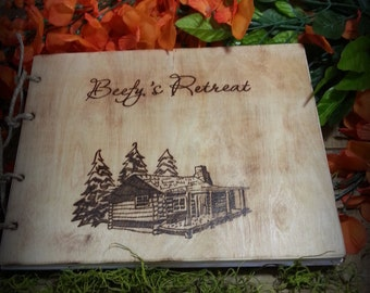 Personalized Rustic Wooden Guest Book with Log Cabin and Trees