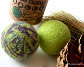 practical green giving, über cool WOOL DRYER BALLS, eco friendly stocking stuffer, gifts under 25, free shipping, plum, chartreuse, bohemian