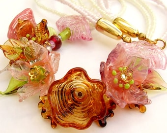 Lampwork Floral Necklace, Delicate Amber-Pink Bouquet, Festive Glass Necklace, Unique Gift, Birthday Gift