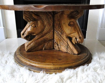 Vintage Wood Table Hand Carved 3 Horse Head Wooden Detailed Coffee Table Rough Hewn Rustic Masculine Rodeo Country Eclectic Home Furnishings