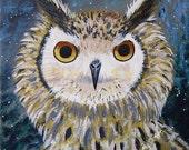 Owl - 10x10 Fine Art Giclee Print - Great Horned - Night Sky - Nature - Blue- Brown - Painting - Whimsical - Children - Bird Art