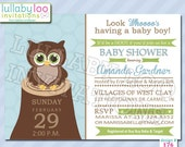 Owl Baby Shower Invitations - Printed Baby Shower Invitations - Custom Invitations