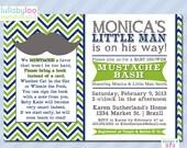 Mustache Baby Shower Invitations - Printed Baby Shower Invitations - Custom Invitations