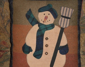 Handcrafted Primitive/Rustic Snowman Throw Pillow