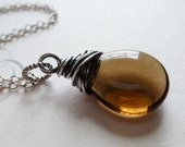 Mocha Brown Czech Glass Necklace / Sterling Silver Wire Wrapped Pendant / SimplyJoli / Coffee
