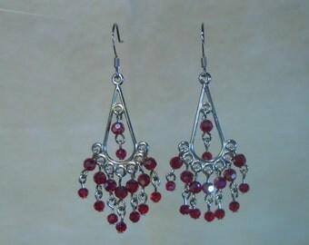 Dainty Red Chandelier earrings