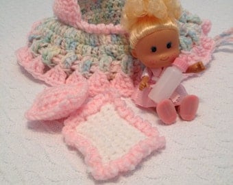 crochet cradle purse with doll blanket pillow and baby bottle also called church purse girls purse with doll  READY TO SHIP