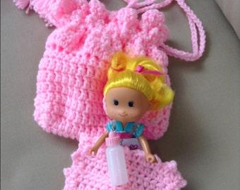 pink crochet cradle purse with doll church purse doll purse