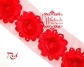 Shabby Flowers - RED Shabby Rose Trim - Shabby Chic - Shabby Flower Trim - DIY Flowers