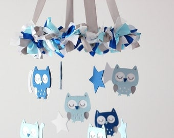 Owl Nursery Mobile in Blues, Gray & White- Baby Mobile, Baby Shower Gift