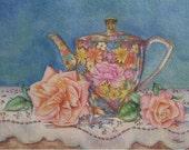 GardenParty 5x7 Ltd Edition Watercolour Print Of Floral Chintz Teapot