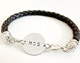 Custom Leather Bracelet - Personalized Hand Stamped Braided Leather with Clasps - Stainless Steel Disc with Initials or Custom Design