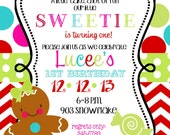 Christmas  Holiday Birthday  Party Invitation-Digital- Printable- gingerbread girl
