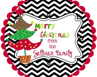 Christmas Stickers Labels - personalized-chevron- round-address