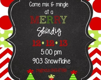 Christmas  Holiday Party Invitation-Digital- Printable