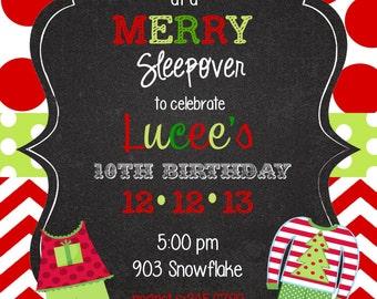 12   Christmas Pajama Party -invitations with envelopes -pj party- sleepover