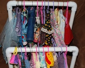 doll clothes rack for 18 inch dolls WITH one dozen plastic clothes hangers