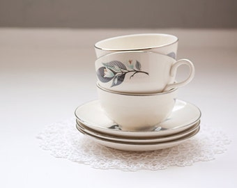 Set of 3 Cups and Matching Saucers Homer Laughlin Rhythm