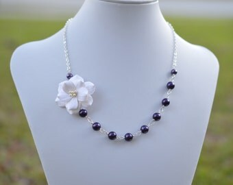 FREE EARRINGS White Garden Rose and Deep Purple Flower necklace, White Flower Necklace , White Rose Asymmetrical Necklace