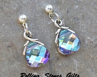 Vitrail Light, Swarovski, Briolette Dangle, Rhinestone Earrings, Drop Crystal Studs, VL, Swarovski Dangle, Post Dangle, Briolette Earrings