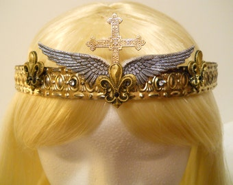 Gold Cross Crown, Tiara, Wings, Queen, Mardi Gras, French, Fleur de Lis, Game of Thrones, Joan of Arc, Saint, Christian, Catholic, Costume