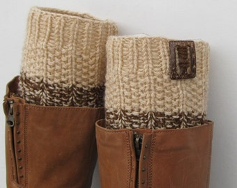 Knit Boot Cuff, 2 in 1 Knit Boot Cuff, beige / beige and brown color, wellies boot cuff, leg warmers,