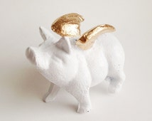 When Pigs Fly Statue in Gold and White