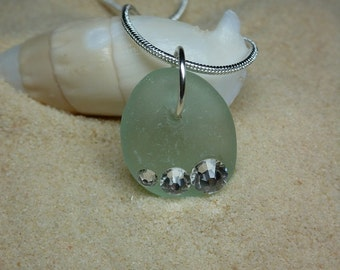 Drilled seafoam green sea glass necklace with Swarovski crystal rhinestones and sterling silver chain