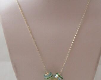 Lovely Blue & White Lampwork Star w/ Flower Handmade Beaded Necklace Silver Tone