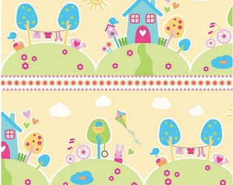Sweet Home by Melly & Me -  Riley Blake Designs - Main Yellow -  1 Yard Cut - Yellow Fabric - Cotton Fabric