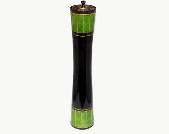 Pepper mill, peppermill, pepper grinder, Irish Pepper Mill: Black and Green Dyed Maple with Gold Acrylic and stainless steel grinder