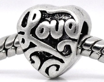 "Antique Silver Tone ""Love"" Heart Charm"