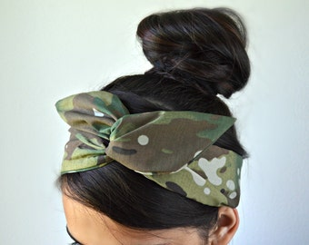 Multicam Dolly bow head band, Scorpion head band, hair bow