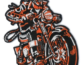 "4"" Devil Biker Iron-ON Patch Vince Ray Low Brow Kustom Kulture Rockabilly Moto Psychobilly Harley Davidson Motor Cycle Jacket Vest Greaser"