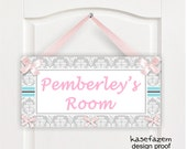 personalized pink and gray cor rosa matching bedding nursery door sign  - P683