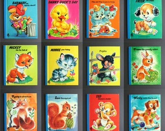 Set of 12 Vintage Childrens Books - Animal Stories - Colorful Nursery Decor - Animal Wall Decor - Bedtime Storybook - Puppies Kittens