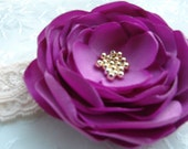 Glamour Large Plum Flower Headband or  Flower Clip - All ages Headband - Great Photo Prop