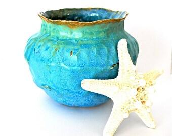 Turquoise Stoneware Vase Hand Built