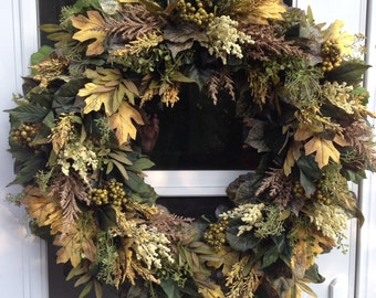 Sale!! Olive Green  Pale Yellow Fall Wreath