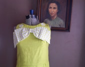The New Girl 1960s Chartreuse Drop Waist Dress with Over Sized White/Chartreuse Polka Dot Bow