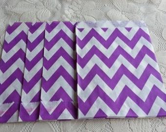 Violet chevron Paper Bags, Purple Kraft Gift Bag 25pcs, Candy paper bag - 5 x 7inch - party favors treat or treat bag, Wedding, cookie bag
