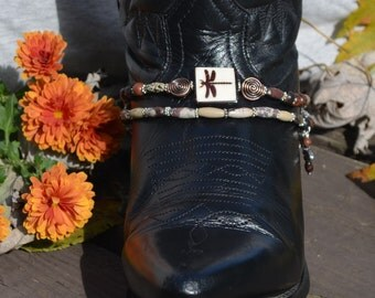 Beaded Boot Bracelet With Dragonfies and Natural Stone Beads