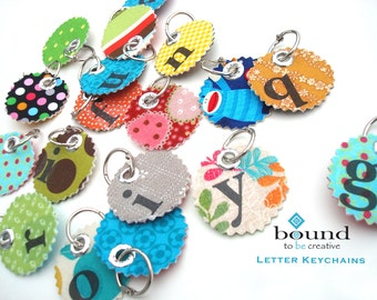 Stocking Stuffers - Keychains - Letter Key Chains - Christmas Kids - Backpack Keychain - Zipper Key Chain - A to Z Letters - Zipper Pulls
