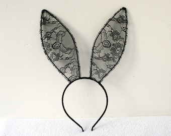 Black lace bunny ears ( 20 cm) headband - Made to Order