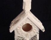 Precious Small Victorian White and Gold Church Mosaic Birdhouse