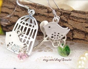 Silver Tone Romantic Love Birds Earrings